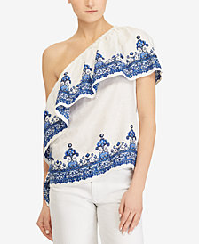Lauren Ralph Lauren One-Shoulder Linen Top