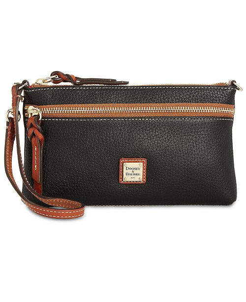 Dooney & Bourke Tech Top Zip Pebble Leather Wristlet