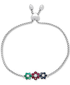 Multi-Gemstone Slider Bracelet (2-1/10 ct. t.w.) in Sterling Silver