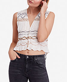 Free People Love Dove Ruched Embroidered Top