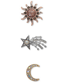 Anne Klein Tri-Tone 3-Pc. Set Sun, Star & Moon Pins, Created for Macy's