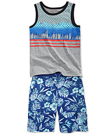 Epic Threads Graphic-Print Tank Top & Printed Shorts Separates, Little Boys, Created for Macy's