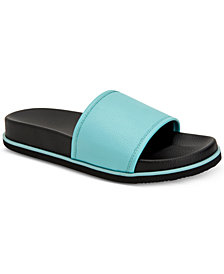 Calvin Klein Men's Mackee Tumbled Smooth Leather Slides