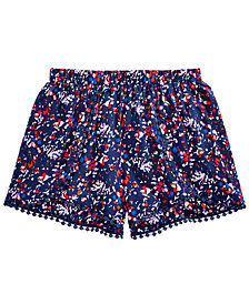Epic Threads Floral-Print Pom Pom-Trim Shorts, Big Girls, Created for Macy's