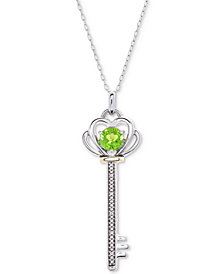 "Peridot (5/8 ct. t.w.) & Diamond Accent Key 18"" Pendant Necklace in Sterling Silver & 10k Gold"