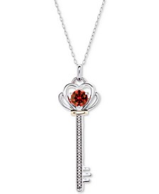 """Peridot (5/8 ct. t.w.) & Diamond Accent Key 18"""" Pendant Necklace in Sterling Silver & 10k Gold"""