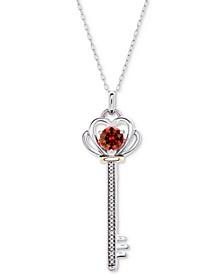 "Rhodolite Garnet (5/8 ct. t.w.) & Diamond Accent Key 18"" Pendant Necklace in Sterling Silver & 10k Gold"