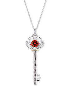 "Rhodolite Garnet (5/8 ct. t.w.) & Diamond Accent Key 18"" Pendant Necklace in Sterling Silver & 10k Gold"