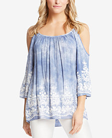 Karen Kane Embroidered Cold-Shoulder Tunic