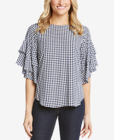 Karen Kane Gingham Ruffle-Sleeve Top