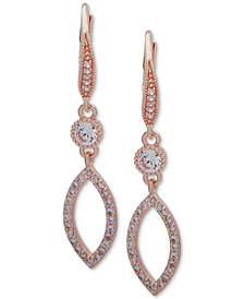Anne Klein Crystal & Pavé Navette Drop Earrings