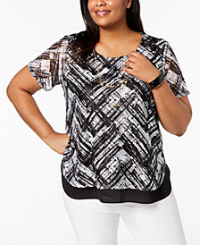 Alfred Dunner Barcelona  Plus Size Lace-Overlay Necklace Top