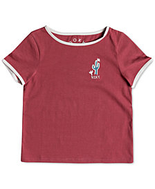Roxy Graphic-Print Ringer Cotton T-Shirt, Little Girls