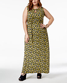 MICHAEL Michael Kors Plus Size Floral-Print Maxi Dress