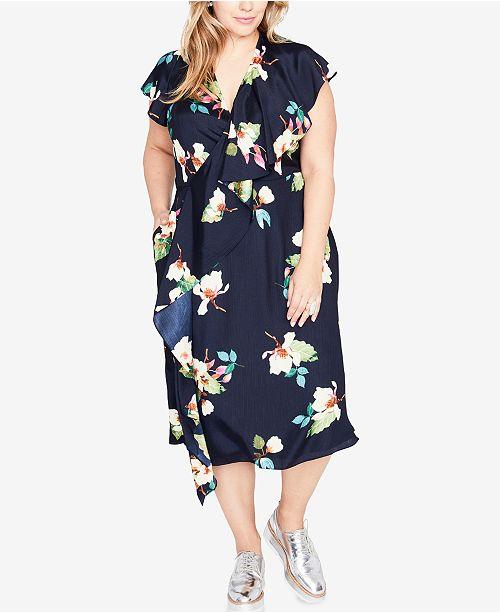 4e5e3f12c28 RACHEL Rachel Roy Trendy Plus Size Ruffled Midi Dress - Dresses ...