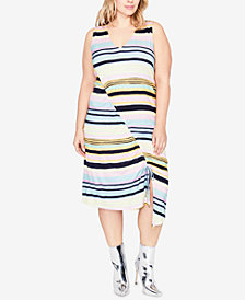 RACHEL Rachel Roy Trendy Plus Size Striped Asymmetrical Midi Dress