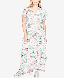 RACHEL Rachel Roy Trendy Plus Size Flutter-Sleeve Maxi Dress