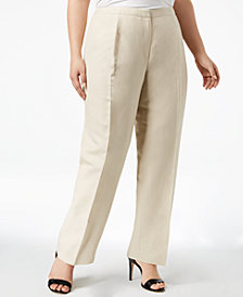 Kasper Plus Size Straight-Leg Pants