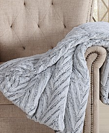 "60"" x 70"" Gray Chevron Luxury Faux-Fur Throw"