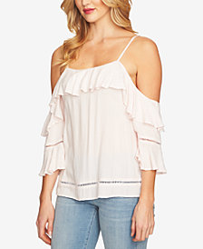 CeCe Ruffled Cold-Shoulder Top