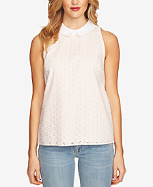 CeCe Cotton Eyelet Collared Top