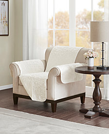 Madison Park Bismarck Embroidered Faux-Fur Chair Protector