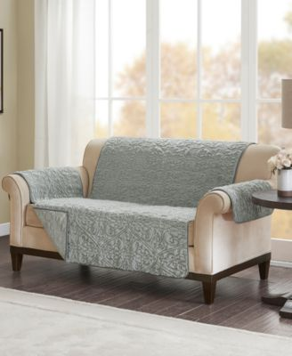 Bismarck Embroidered Faux-Fur Loveseat Protector