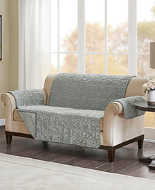 Madison Park Bismarck Embroidered Faux-Fur Loveseat Protector