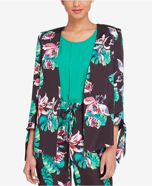 Green Regular Jacket Print Petite Tahari Black Tie ASL Palm Pink Sleeve amp; nA77XYP
