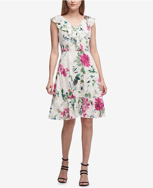 DKNY Floral-Print Ruffled Fit & Flare Dress