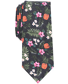 Bar III Men's Gozo Floral Skinny Linen Tie, Created for Macy's