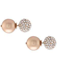 Nina Swarovski Pearl Pavé & Polished Ball Stud Front & Back Earrings, Created for Macy's