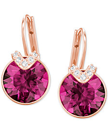 Swarovski Silver Tone Oval Crystal Drop Earrings