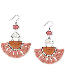 Lucky Brand Silver-Tone Multi-Stone & Tassel Fringe Drop Earrings, Created for Macy's