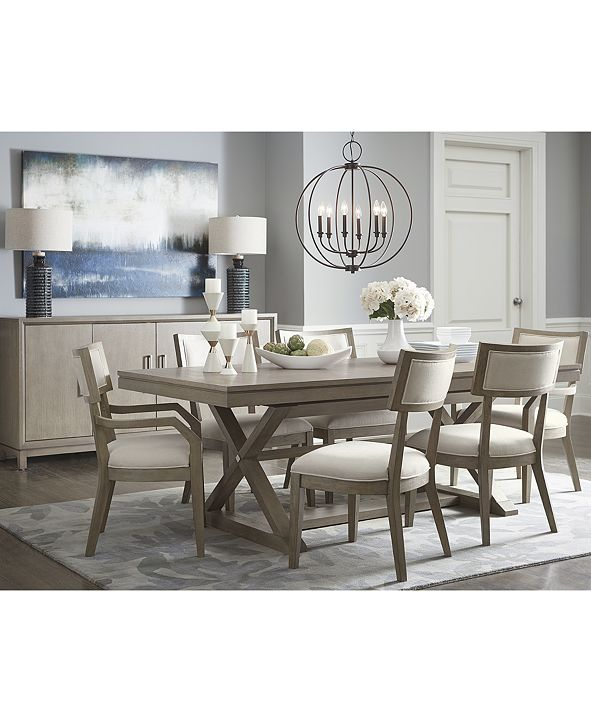 Furniture Rachael Ray Highline Expandable Dining Furniture, 7-Pc. Set (Trestle Dining Table, 4 Side Chairs & 2 Arm Chairs)