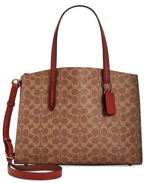 a75c59ecff4e COACH Signature Charlie Medium Satchel - Handbags   Accessories - Macy s