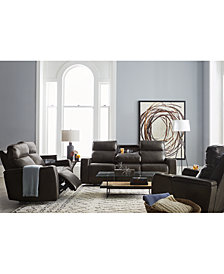 Oaklyn Leather Sofa Collection With Power Recliners, Power Headrests and USB Power Outlet