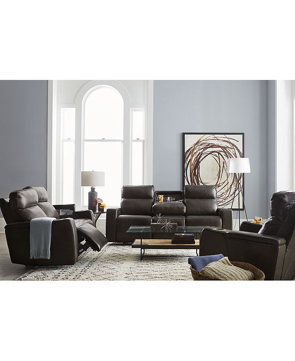 Furniture Oaklyn Fabric & Leather Sofa Collection
