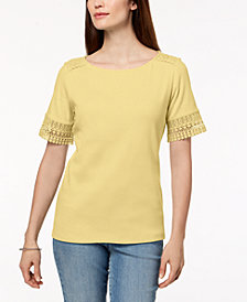 Karen Scott Cotton Lace-Trim T-Shirt, Created for Macy's