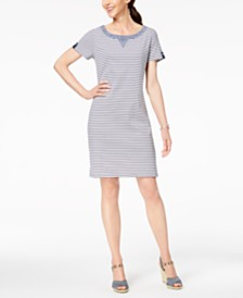 Karen Scott Cotton Striped Button-Accent Dress, Created for Macy's