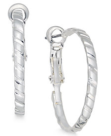 Charter Club Silver-Tone Etched Hoop Earrings, Created for Macy's
