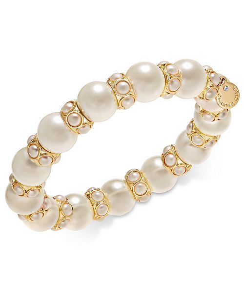 Charter Club Gold-Tone Imitation Pearl Stretch Bracelet, Created for Macy's