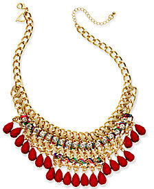"Thalia Sodi Gold-Tone Stone & Crystal Multi-Layer Statement Necklace, 17"" + 3"" extender, Created for Macy's"
