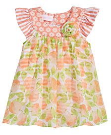 Bonnie Baby Flutter Sleeves Romper with Peaches-Print Overlay, Baby Girls
