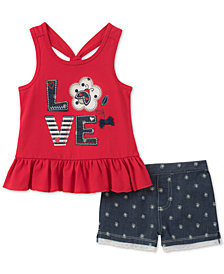Kids Headquarters 2-Pc. LOVE Tunic & Shorts Set, Baby Girls