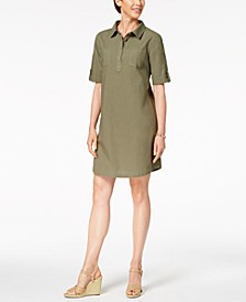 Petite Cotton Point-Collar Shift Dress, Created For Macy's