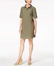 Karen Scott Cotton Cuffed-Sleeve Shirtdress, Created for Macy's