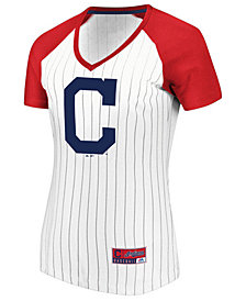 Majestic Women's Cleveland Indians Every Aspect Pinstripe T-Shirt