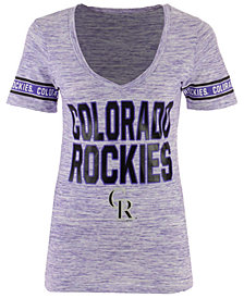 5th & Ocean Women's Colorado Rockies Space Dye Sleeve T-Shirt