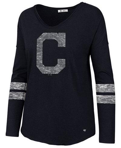 '47 Brand Women's Cleveland Indians Court Side Long Sleeve T-Shirt